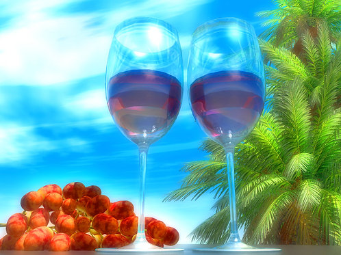 Red Wine and Red Grapes in Paradise