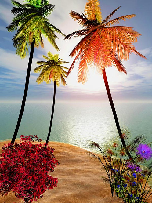 Tropical Island Sunset with special collaboration with Katie Spring