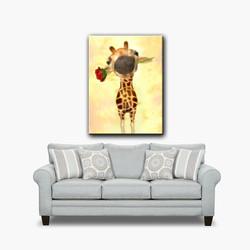 BabyGiraffeGivingYouARoseSofa