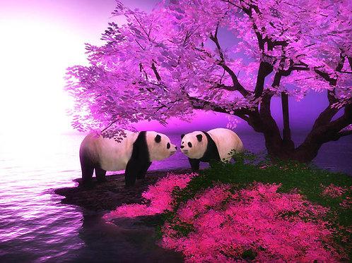 Pandas Along the Shore in the Twilight