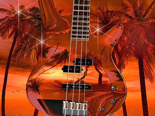 Bass Guitar in Twilight