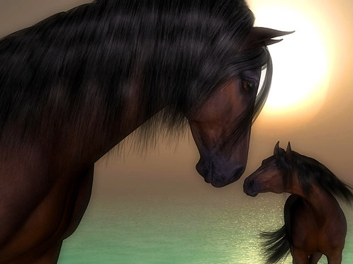 Mother and Baby Horse Love