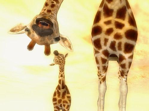 Giraffe Parent Saying Hi