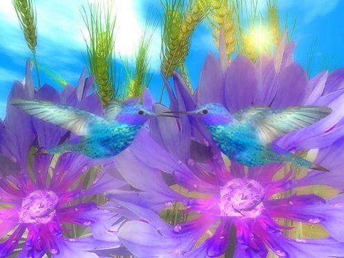 Blue Hummingbirds in Love
