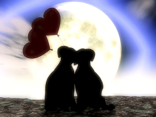 Puppies Snuggling with Hearts