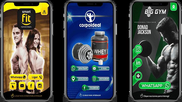 Cartão digital interativo academia, com um homem e uma mulher, cor preto e amarelo, suplementos, com pote de whey, cor verde e azul, pesonal, com homem, cor verde e preto
