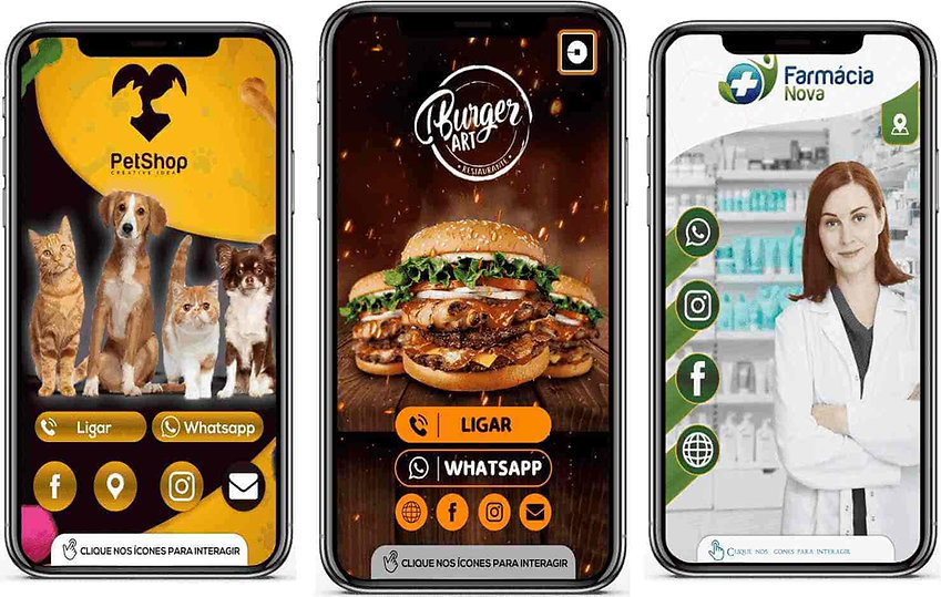 Cartão digital interativo pet shop , com cachorros e gatos preto e amarelo,hamburguer suculento,farmaceutica ,farmacia cores braco e verde