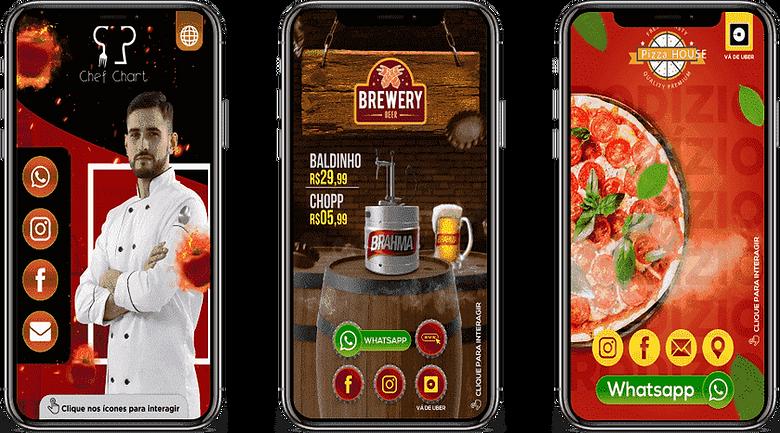 cartão-digital-interativo, com um chefe de cozinha, cor vermelho, preto e amarelo, adega, com barril de chop, cor vermelho, verde, amarelo e branco, pizzaria, com uma pizza de calabresa quentinha, cor vermelho, amarelo e verde