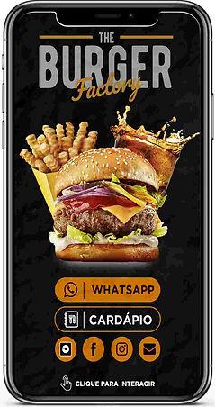 Cardápio-Digital-Interativo com hamburguer suculento, batata frita, refrigerante gelado, cor preto e amarelo