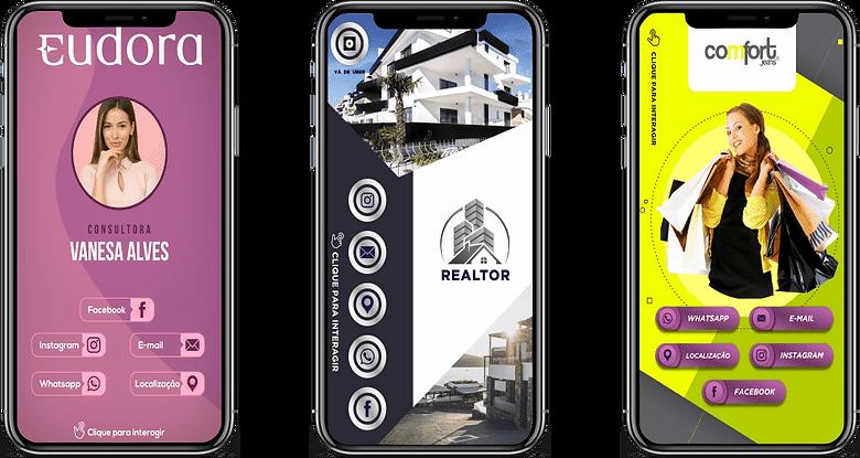 Cartão-Digital-Interativo,consultor(a), com uma mulher, cor lilás, roxo e branco, imobiliária, com uma casa grande, cor preto, branco e prata, vestuário, com uma mulher cheia de compras, cor  amarelo, verde, roxo e branco