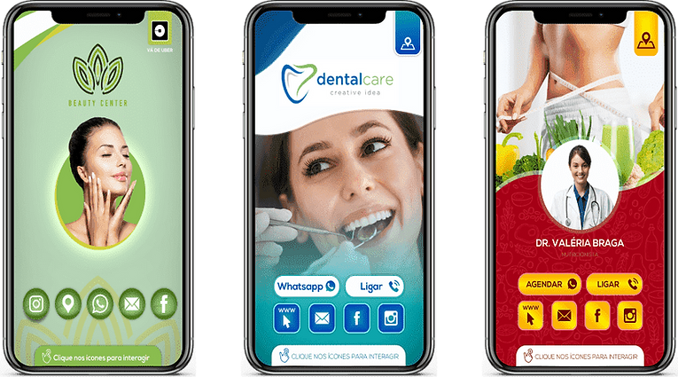 Cartão-Digital-Interativo estética, com uma mulher feliz, cor verde claro e verde escuro, dentista, com uma mulher sorrindo, cor azul, verde e branco, nuntricionista, com umamulher e uma fita metrica, cor vermelho e amarelo
