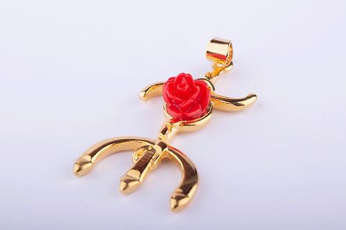 Pingente Orixá Tridente Redondo Rosa Dourado