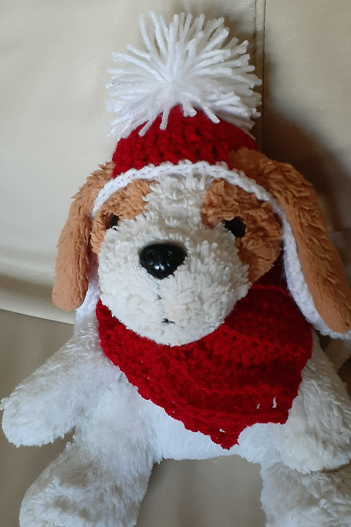 Small dog hat and scarf set