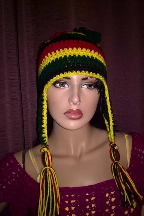 Rasta ear flap hat with curly cue