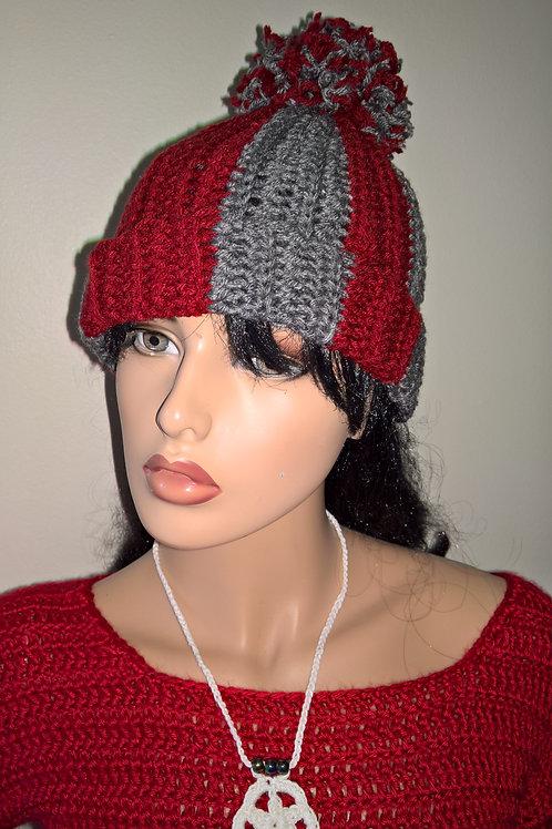 Two Tone pompom hat