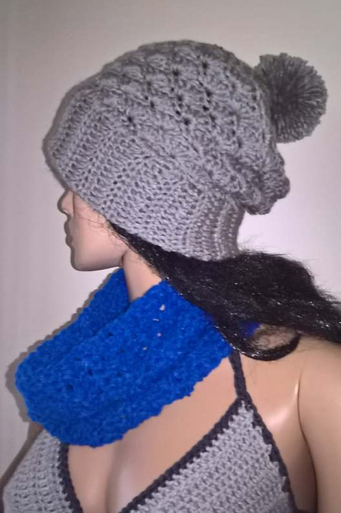 Grey slouch shell hat with pompom