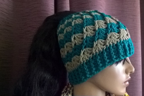 Twisted Shell Ponytail/Messy Bun hat