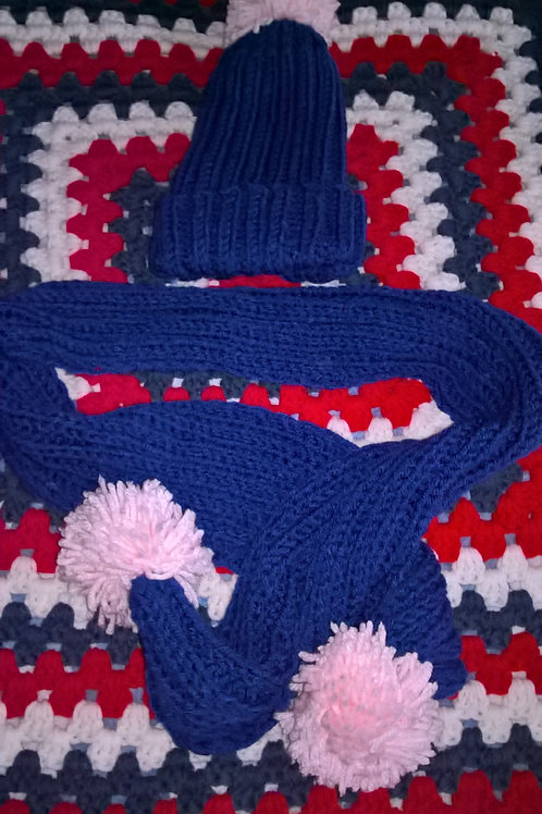 Child knitted hat and scarf with pink pompom