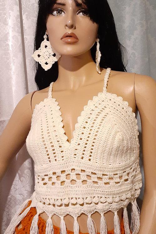 Crystal yarn fringe crop top & earrings