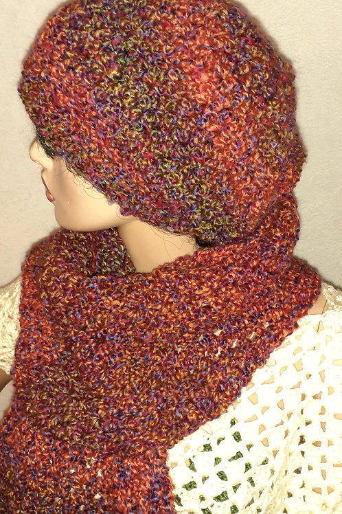 Slouch hat and shawl with fringe set