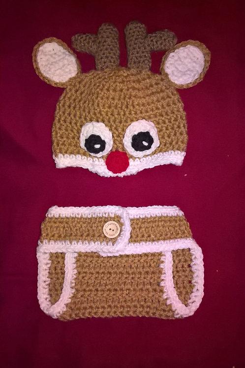 Newborn Reindeer Hat & Diaper Cover