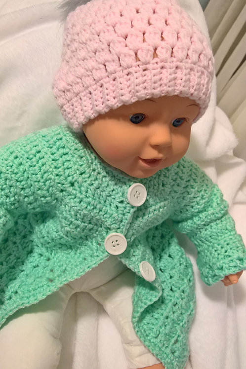 Newborn baby cardigan & hat