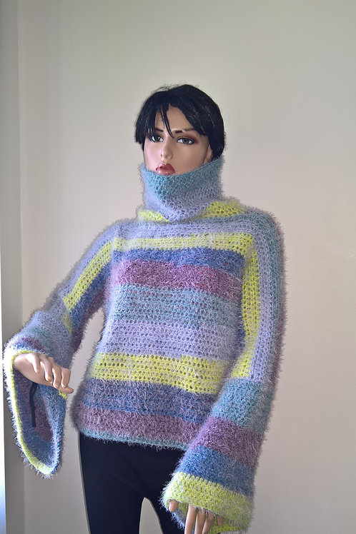 Turtle neck sweater with dramatic sleeves