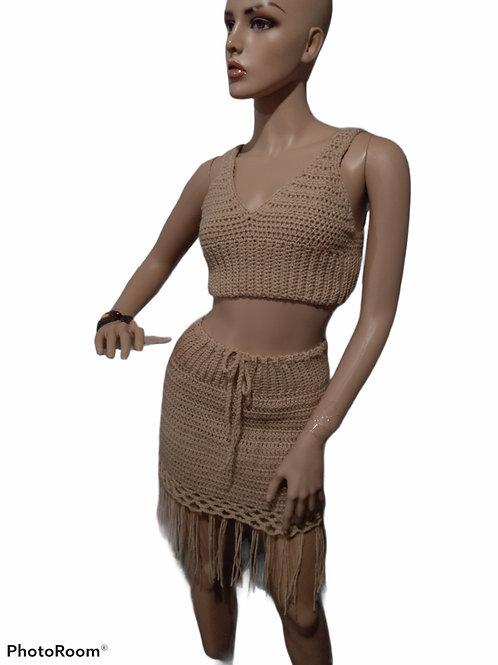 Crochet Beige crop top & skirt set