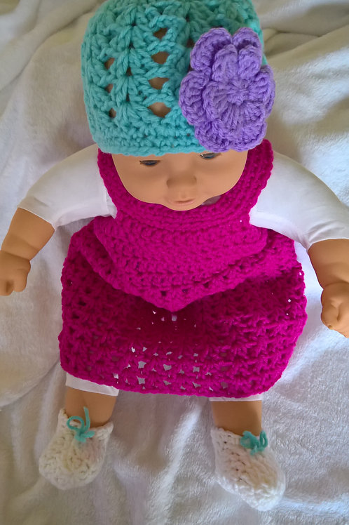 Baby hat, dress and booties