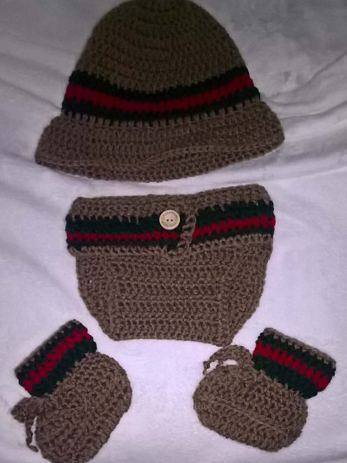 Baby gucci inspired brim hat, diaper cover and booties