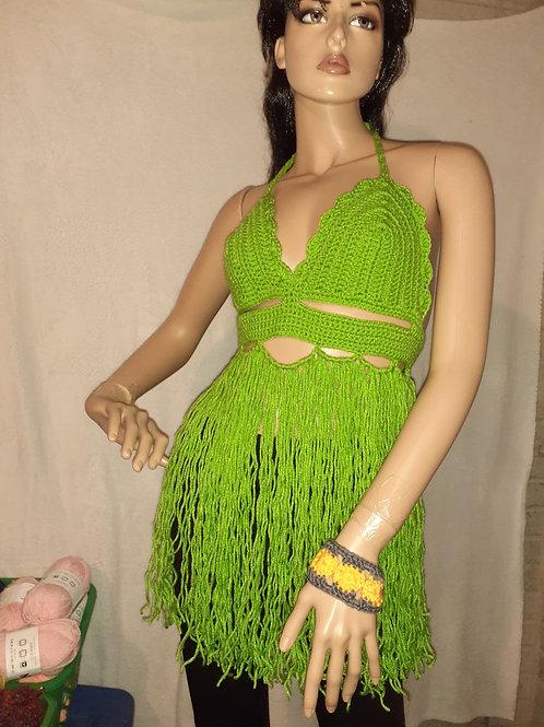 Green Long fringe top
