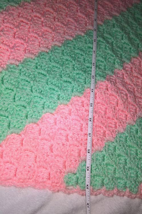 Corner to corner mint & pink baby blanket