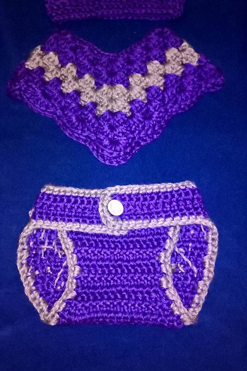Newborn Tiara, poncho and diaper cover set