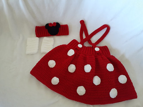 Minnie mouse skort, headband and fingerless gloves set