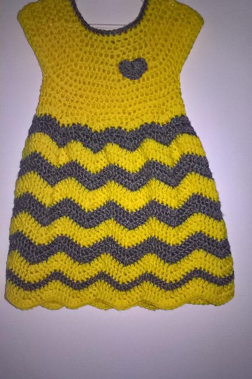 Toddler Yellow & grey chevron dress