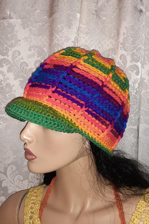 Rainbow cap with brim