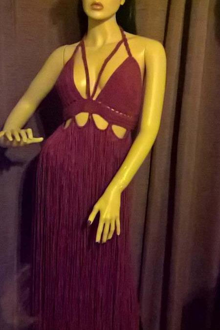 Bralette long fringe top/dress