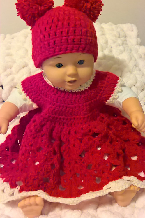 Double red pom pom hat & dress