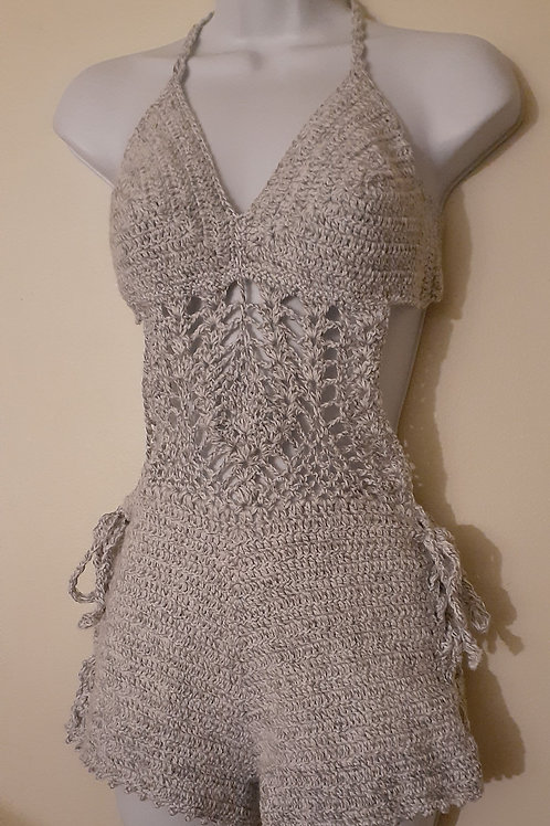 Crochet monokini romper short