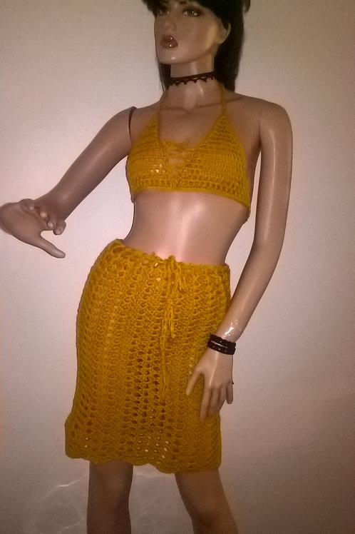 Mesh bikini top thong and skirt set