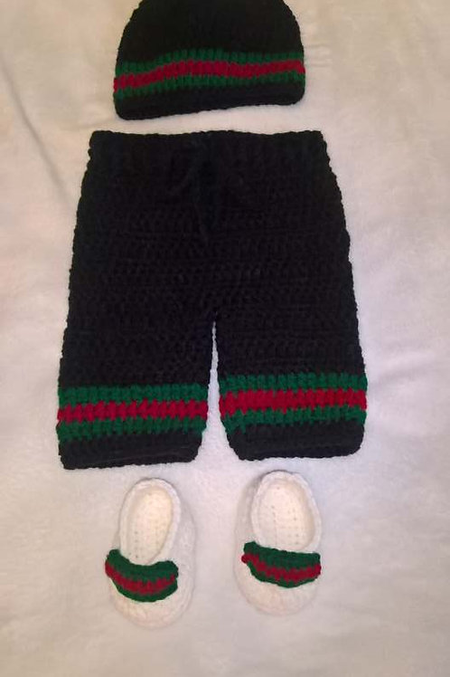 Inspired baby beanie, pants and shoes set
