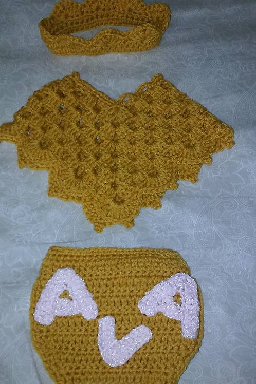 Baby newborn poncho set with name