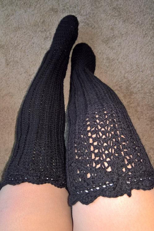 Black thigh high stocking