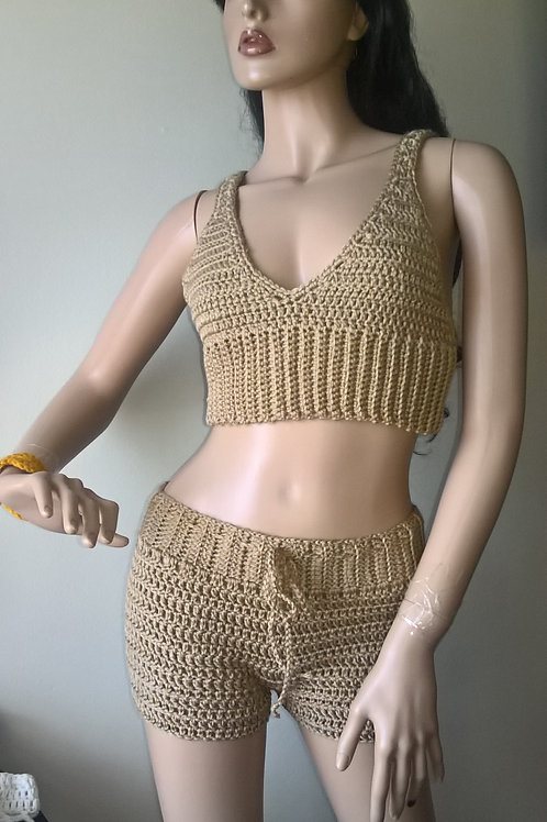 Crop top Tank Top Shorts set