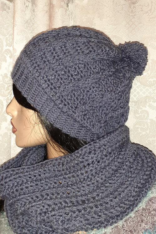 Braided hat with pompom & cowl set