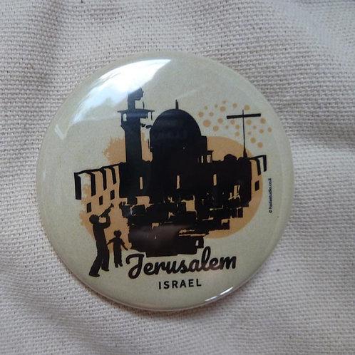Badge | magnet Jerusalem | Yellow