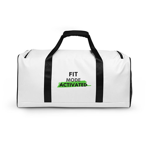 ' Fit Mode Activated' White Duffle bag