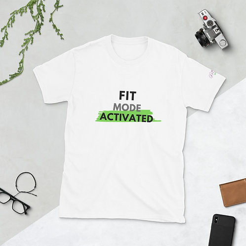 'Fit Mode Activated' Short-Sleeve Unisex T-Shirt (Black & Lime)