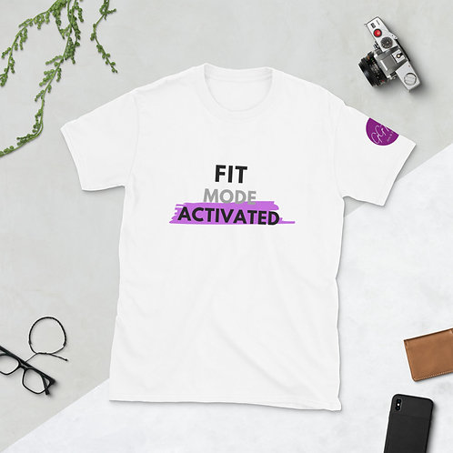 'Fit Mode Activated' Short-Sleeve Unisex T-Shirt (Grape & Black)