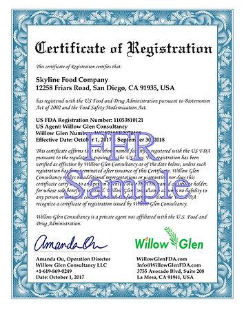 FDA Certificate of registration 注册证书  註冊證書